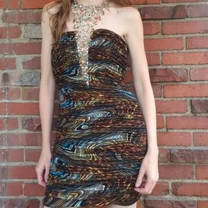 Party Time Short Strapless Party Dress With Beads